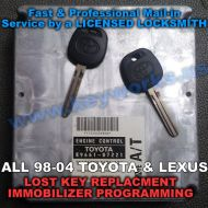 Toyota All models(98-04) Key Replacement